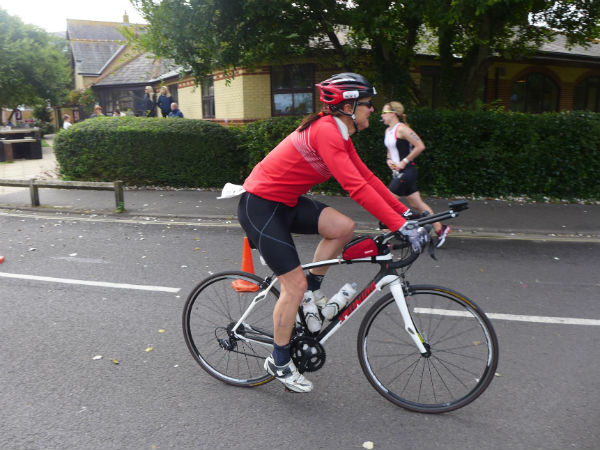 Coming into transition at the end of the bike ride. 6 hours 51m for 180km with 1880m of elevation. Pleased with that!!